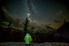 I took this selfie near the Sunrise area on Mt Rainier.  I set up two flash stands, behind and to the left and right of me.  I set the two SB-800 flashs to fire at the end of the 30 second exposure.