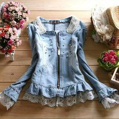 2014 women's spring fashion pearl lace decoration water wash denim short design outerwear top $36.00