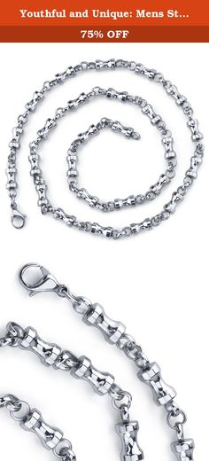 Youthful and Unique: Mens Stainless Steel Dumbbell Link 22 inch Chain Necklace. Whether at the gym or hanging out with the guys, you?ll look trendy wherever you go. A high polished finish accentuates the high-end jewelry vibe and will surely become a favorite in your jewelry collection. You can wear this as a single strand or layer it with your favorite necklaces in your existing collection. The easy-to-wear Lobster Claw clasp completes the look with a secure and comfortable fit. The...
