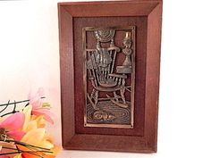 Brass Picture Wood Mounted Rocking Chair Knitting Cat VTG KI Japan Cottage Decor