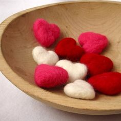 felted heart love pebbles wedding decor / set of by SewnNatural