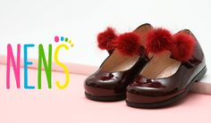 Can you resist theses patent leather Mary Janes with Pom poms by NENS? The pom poms can easily be removed. NENS quality childrens shoes Made in Spain.