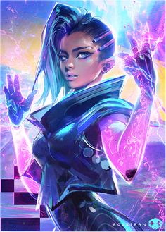 "rossdraws: ""Painted my version of Sombra from the video! She's such a great character. Hope you enjoyed it! :) """