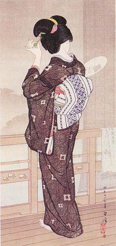 Summer Rain, Beppu Hotsprings  by Hakuho Hirano, 1936  (published by Watanabe Shozaburo)