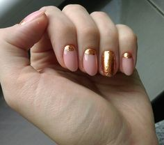 Christmas nude nails with gold alu flakes