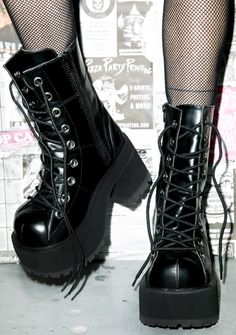 """Demonia Under Pressure Platform Boots yer a Queen to us babygirl. So slam on these boots and get to dancin'. Featurin' lace up fron and 3.25"""" heel these are the shoes that get us to steppin' real fuckin' quick."""