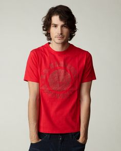 NANO・UNIVERSE MEN'S CASUAL レッド カレッジTシャツ