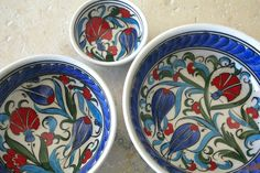 Red White and Blue Istanbul Tulip Bowl Set by UrlaFinds on Etsy