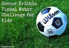Test your child's fine motor and visual motor skills with this soccer dribble challenge on paper.  These important child development skills help with prewriting, reading, and more.