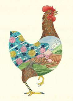 Red Hen - Card | Animal Cards and Prints & Screen prints | The DM Collection