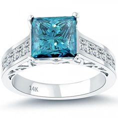 4.88 Carat Fancy Blue Princess Cut Diamond Engagement Ring 14k White Gold