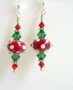 Christmas Earrings Holiday Earrings Red White by Elegencebyelaine, $26.00