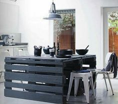 Isla de cocina hecha con #palets #decor #reciclaje #hogar