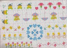 pulcini tulipani e orsetti piccoli schemi punto croce bimbi