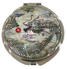 Mother of Pearl Makeup Mirror Dragon Design Cosmetic Mirror Handbag Purse Handheld Compact Hand Pocket Mirror(big)