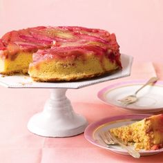 "See the ""Rhubarb Upside-Down Cake "" in our Martha Stewart's Favorite Dessert Recipes gallery. This beautiful cake has a crumb ""topping"" that actually ends up on the bottom. Each bite has a surprisingly crunchy texture. Mothers Day Desserts, Just Desserts, Delicious Desserts, Dessert Recipes, Dessert Ideas, Frosting Recipes, Cupcake Recipes, Yummy Food, Rhubarb Upside Down Cake"
