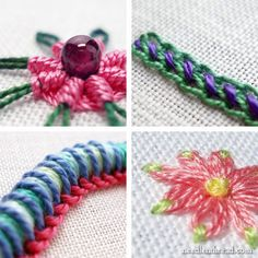 "Stitch Play Hand Embroidery Stitch Articles. Stitch Play is a series of articles featuring step-by-step photo tutorials that explore different hand embroidery stitches and the different and fun things you can do with them."" Mary has put together an index so you can easily find all of the Stitch Play tutorials. Go to her post on this topic."