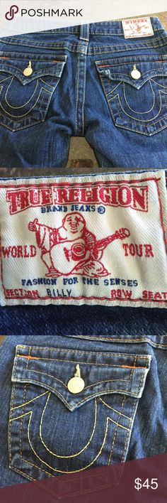 """True Religion """"Billy"""" Jeans 27 True Religion Billy Jeans, size 27, five pockets, rise 6 and three-quarter inches, inseam 30 inches, straight leg. True Religion Jeans Straight Leg"""