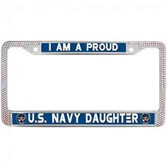 UNITED STATES MARINES STEEL HEAVY DUTY BLACK License Plate Frame Tag Border BLUE