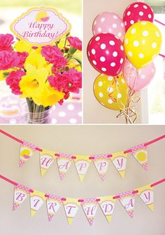 yellow and pink lemonade birthday party decorations