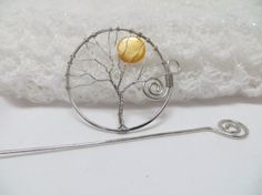 Silver Tree of Life Hair Pin Silver Tree of by ArtfullyWrapped