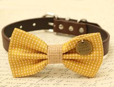 Mustard Dog Bow Tie Bow attached to brown dog collar Pet accessory Charm dog lovers Cat bow Burlap bow tie Never give up gift Yellow Accessories, Dog Accessories, Wedding Accessories, Unique Dog Collars, Handmade Dog Collars, Cat Bow Tie, Tie Bow, Shih Tzu, Beaded Dog Collar