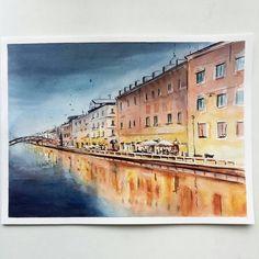 By @vesna_v_serdce. Tag #inspiring_watercolors for a chance to be featured. #watercolors #watercolor #watercolorpainting #aquarelle #painting #watercolorartist #art #artist #inspiration #beauty #beautiful #sketch #illustration #artwork #watercolour #watercolorsketch #river #city #promenade
