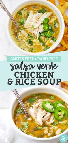 Salsa Verde Chicken and Rice Soup - Soothing chicken and rice soup with a salsa verde twist! This is the perfect meal for cold days or when you're feeling under the weather. (Gluten-Free, Dairy-Free) // Chicken and Rice soup recipe // chicken rice soup Chicken Rice Soup, Chicken Soup Recipes, Chicken And Dumplings, Recipe Chicken, Cracker Chicken, Salsa Chicken, Chicken Enchiladas, Chicken Casserole, Lemon Chicken