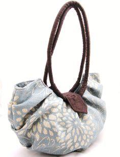 Large blue floral canvas purse, pleated hobo bag - blue blossom. $110.00, via Etsy.