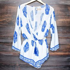 boho print ivory and blue romper by reverse