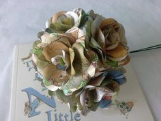 6 Peter Rabbit Roses,  Book Paper Flower Roses, Handmade Paper Flowers, Fun Flowers, Cute Wedding, New Baby Flowers