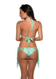 Meg Liz Bikini Set. The skimpy bikini bottom accentuates your booty in all the right ways. The gentle ruched backside highlights your curves, while the braided strings meet to hug your hips. #skimpybikinibottom