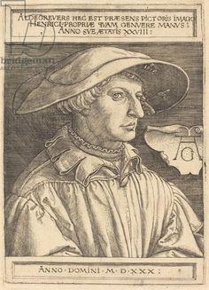 Self-Portrait, 1530 (engraving), Aldegrever, Heinrich (1502-c.1561) / National Gallery of Art, Washington DC, USA / Bridgeman Images