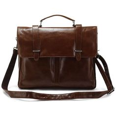 Leather Briefcase by Polare. Italian Design, Natural Leather, Double Compartment, ideal for Laptop.