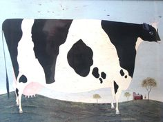 Warren Kimble American folk Art Large Cow Lithograph Framed, Blue Black White - pinned by pin4etsy.com