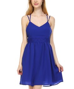 Royal Blue Crochet-Back Sleeveless Dress