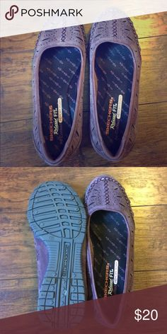 Eggplant flats Eggplant colored memory foam relaxed fit sketchers. Worn once!! Very very comfortable! Skechers Shoes Flats & Loafers