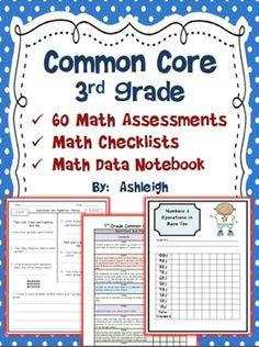 Third Grade Math Assessments for the Common Core Standards Common Core Math Standards, Common Core Curriculum, Data Notebooks, Interactive Notebooks, Teaching Math, Maths, Teaching Ideas, Math Assessment, Singapore Math