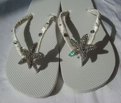 69f4bc09aba6d7 Sparkling RHINESTONE STARFISH Beach Wedding Flip Flops   crystal starfish  bridal flip flop   destination wedding white or ivory