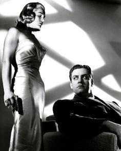 maudelynn:Lizabeth Scott and Raymond Burr in Pitfall c.1948 original photo via http://jake-weird.blogspot.fr