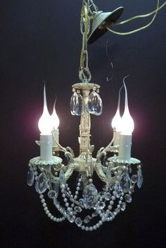 Vintage Petite Ivory White Crystal Chandelier 4 Light Girls Room Chandelier Pearl Crystal Swags Nursery Chandelier Baby Chandelier DD 1112 by donDiLights on Etsy