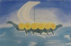 Waldorf ~ 4th grade ~ Norse Mythology ~ Viking Longship ~ watercolor painting