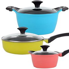6-piece Multicolor Nonstick Ceramic Coating Die Cast Cookware Set * Want additional info? Click on the image.