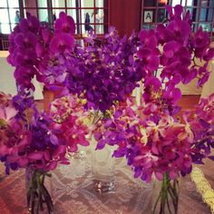 Orchid Centerpiece by Greenery NYC #orchids #centerpiece #pink #purple #pretty #party