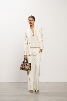 Classic Blazer & Trouser, Georgette Blouse with Wild Night Sandal & Leopard Bag #leopard #blazer #allwhite