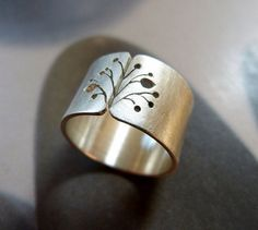 Dandelion silver ring rustic Sterling silver ring wide band ring metalwork jewelry - - - by Mirma Etsy