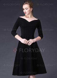 Kleider - $104.00 - Baumwollmischungen 3/4 Ärmel Midi Elegant Kleider (1955096056)