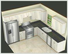 New Kitchen Layout Design With Island Decor Ideas Kitchen Layout Plans, Kitchen Layouts With Island, Kitchen Island With Seating, Best Kitchen Layout, L Shaped Kitchen, Kitchen And Bath, Kitchen Corner, 10x10 Kitchen, Kitchen Sink