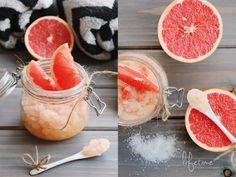 DIY body scrub Kokosöl Grapefruitsaft einer 1/2 Grapefruit abgeriebene Schale einer 1/2 Grapefruit mittel grobkörniges Salz Zucker