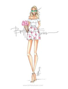 Flamingo by Brittany Fuson Illustration Mode, Fashion Illustration Sketches, Fashion Design Sketches, Ballet Fashion, Fashion Art, Girl Fashion, Fashion Outfits, Become A Fashion Designer, Girly
